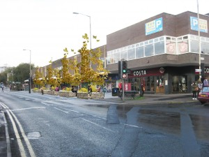 What if trees and planters were added outside the Broomhill centre shopping parade?