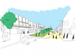 What if the parking outside the Broomhill shops was turned into a green zone with trees, and the pedestrian zone was improved?